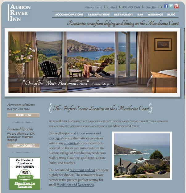 Romantic oceanfront lodging and dining on the Mendocino Coast.