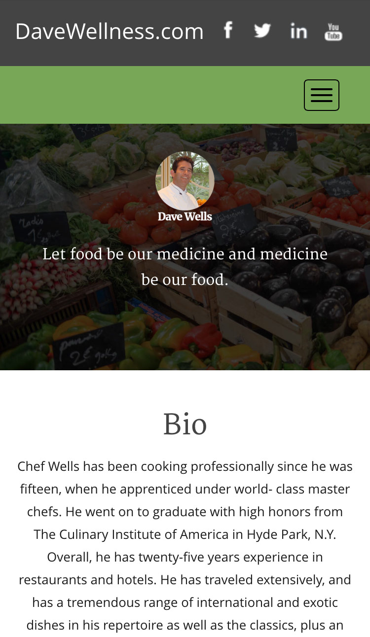 Business services for Chef and Nutritionist Dave Wells.